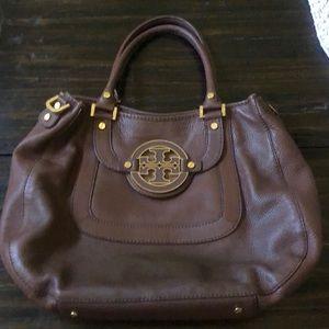 Brown refurbished Tory Burch leather tote bag